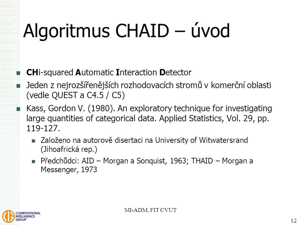 Algoritmus CHAID – úvod