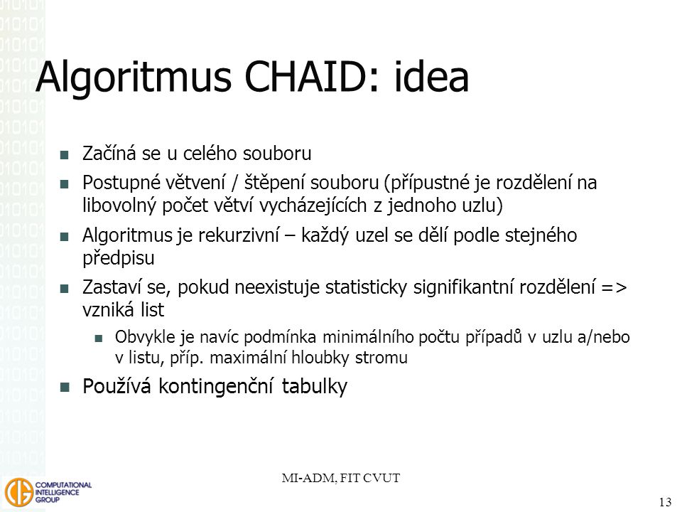 Algoritmus CHAID: idea