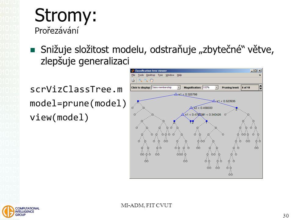 """SPSS Inc. Stromy: Prořezávání. Snižuje složitost modelu, odstraňuje """"zbytečné větve, zlepšuje generalizaci."""