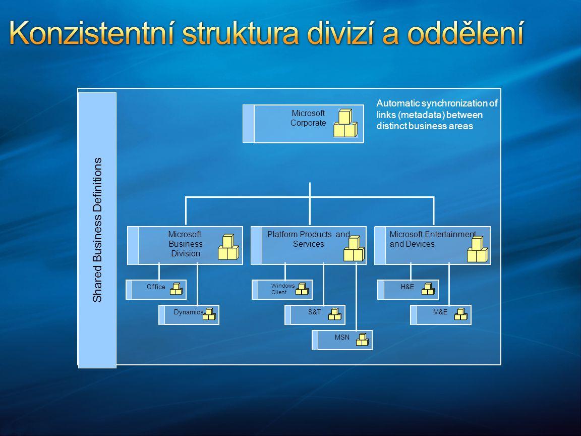 Konzistentní struktura divizí a oddělení