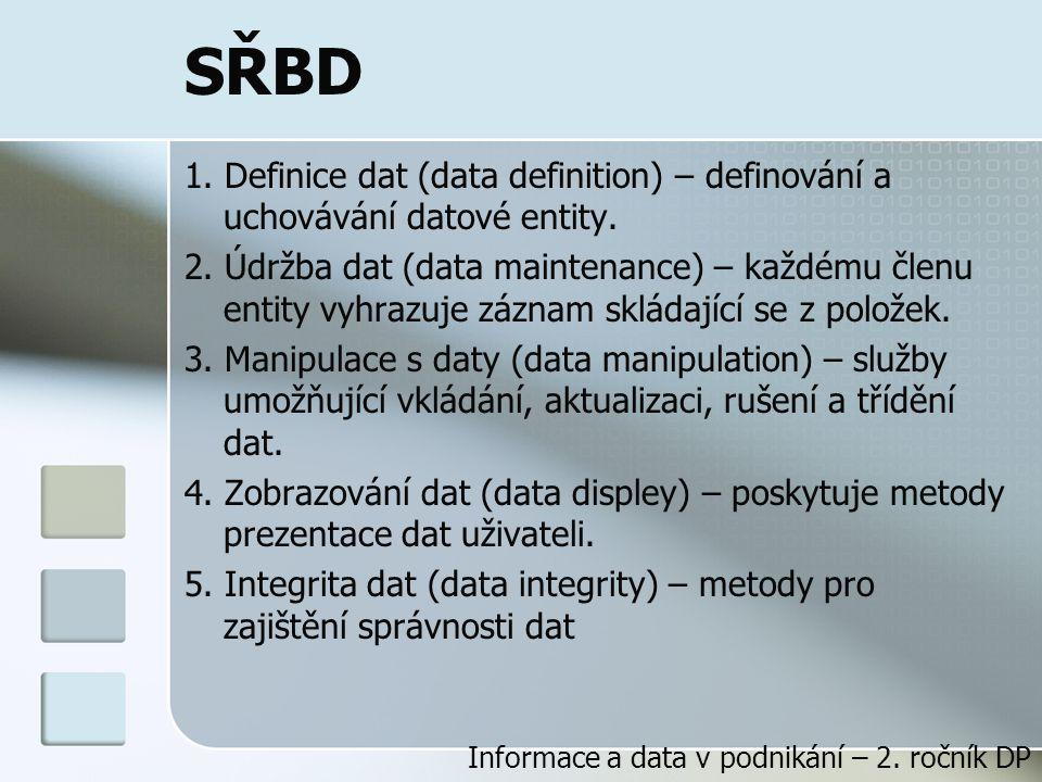 SŘBD 1. Definice dat (data definition) – definování a uchovávání datové entity.