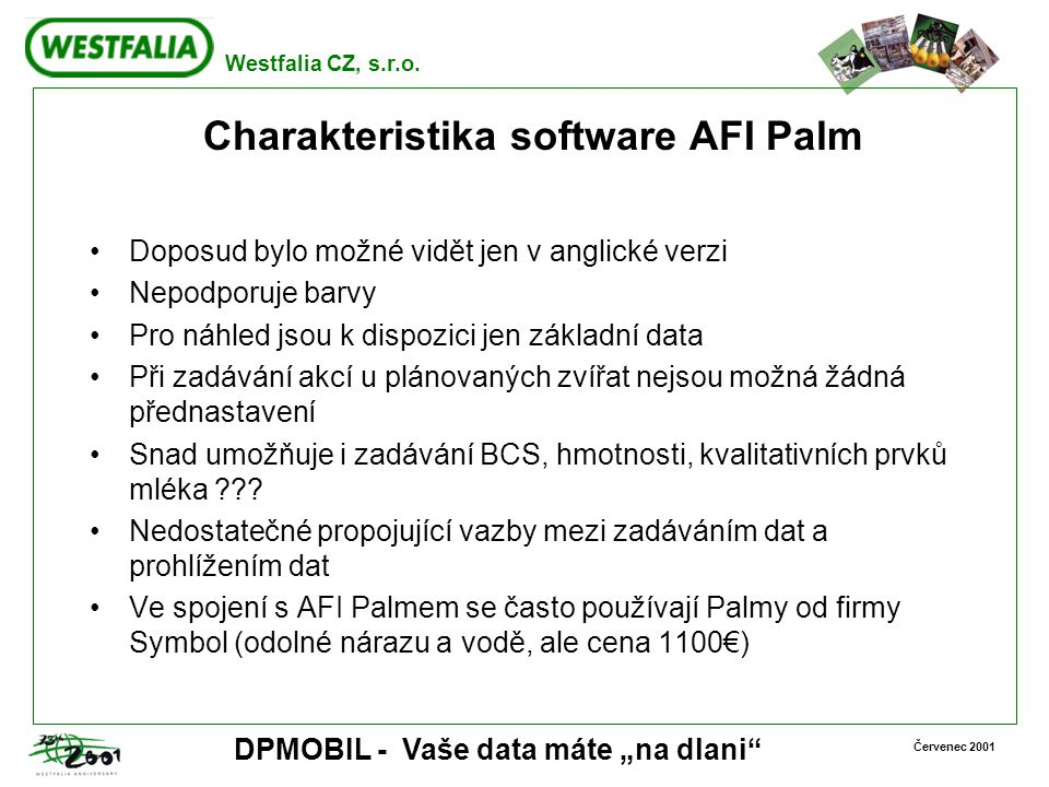 Charakteristika software AFI Palm
