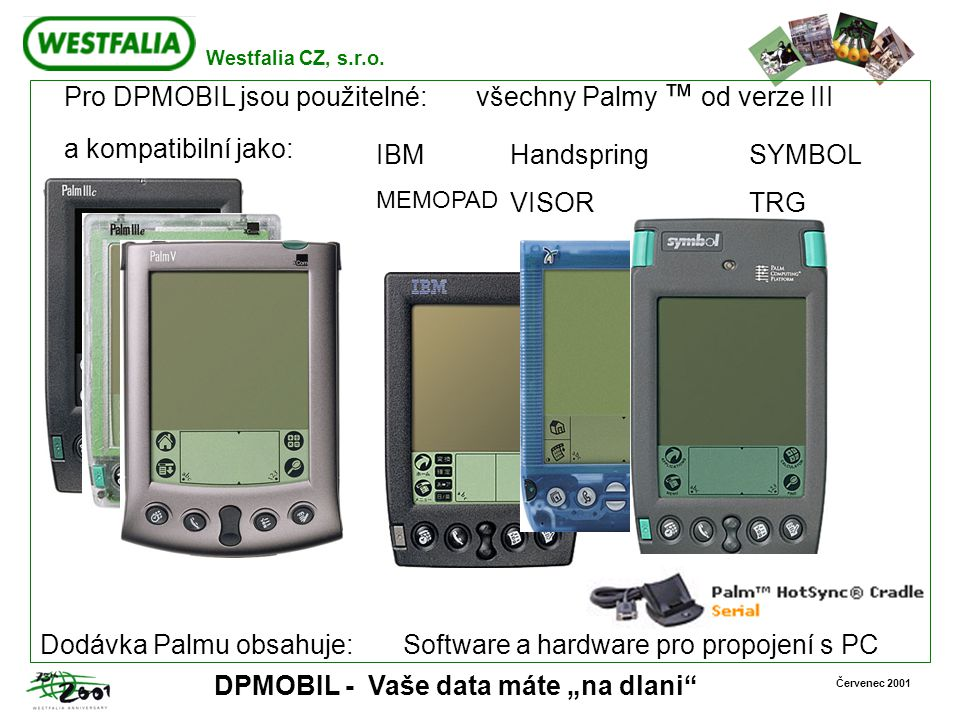 Pro DPMOBIL jsou použitelné: všechny Palmy ™ od verze III