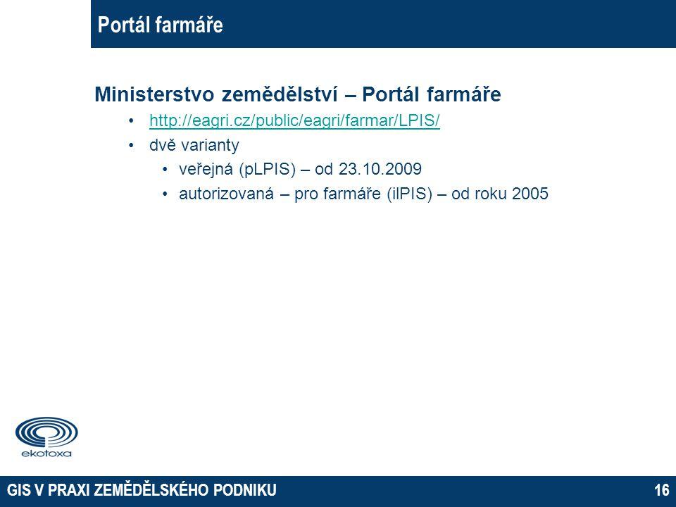 Portál farmáře Ministerstvo zemědělství – Portál farmáře