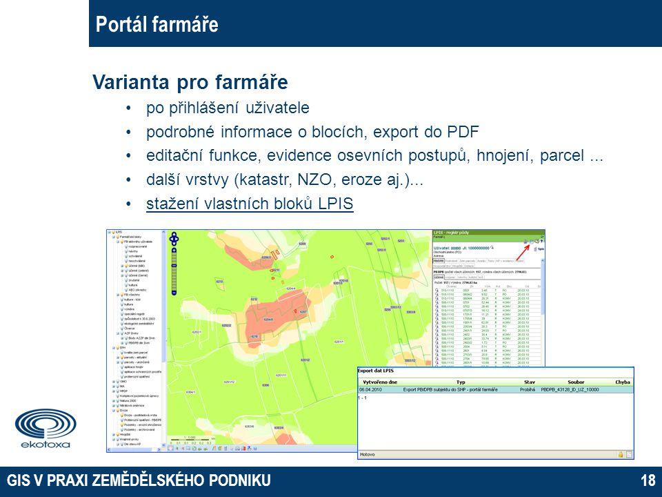 Portál farmáře Varianta pro farmáře po přihlášení uživatele