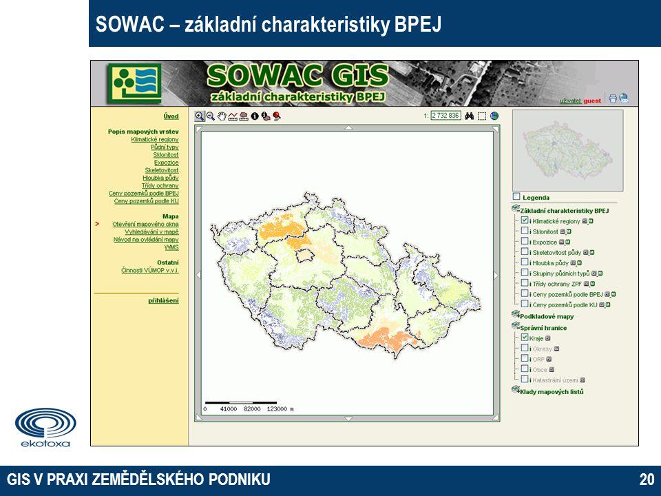 SOWAC – základní charakteristiky BPEJ