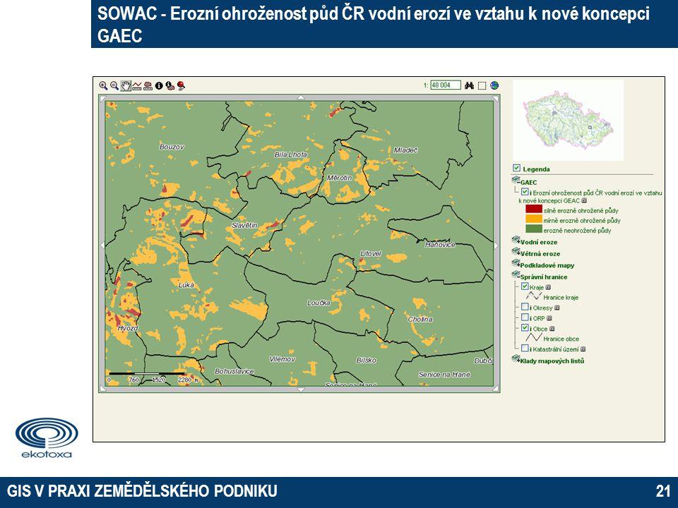 SOWAC - Erozní ohroženost půd ČR vodní erozí ve vztahu k nové koncepci GAEC