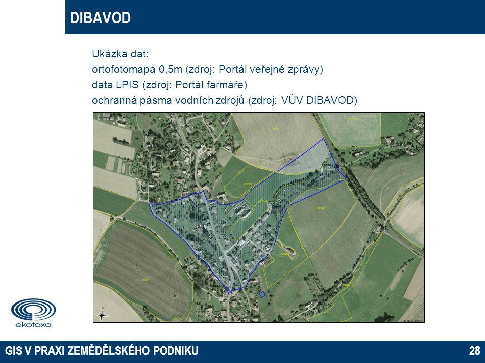 DIBAVOD Ukázka dat: ortofotomapa 0,5m (zdroj: Portál veřejné zprávy)
