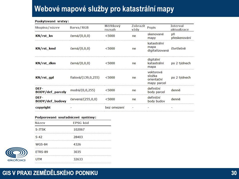 Webové mapové služby pro katastrální mapy
