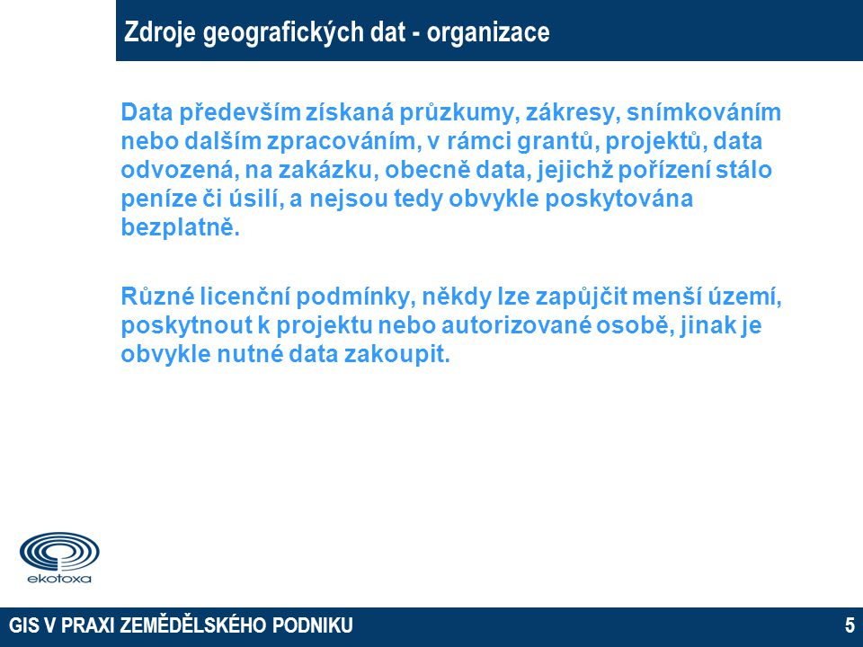 Zdroje geografických dat - organizace