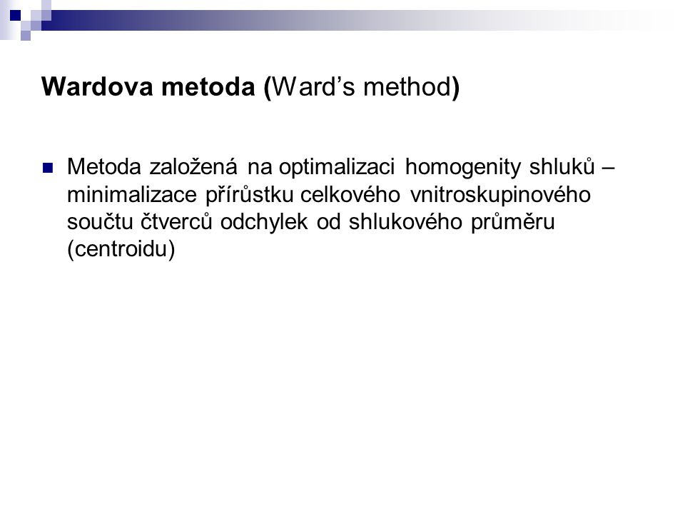 Wardova metoda (Ward's method)