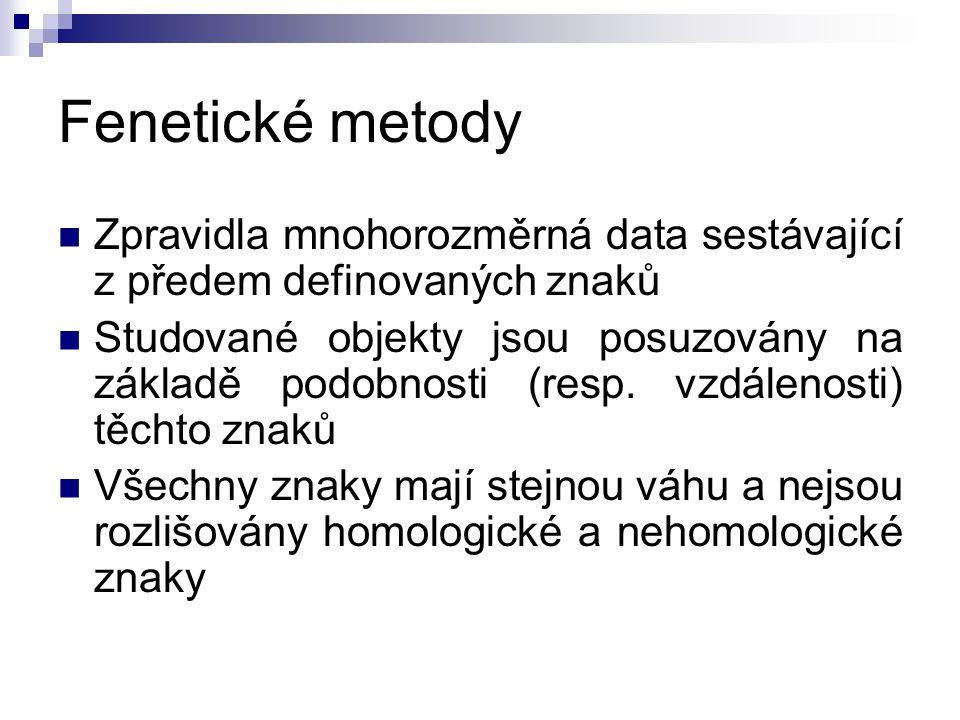 Fenetické metody Zpravidla mnohorozměrná data sestávající z předem definovaných znaků.
