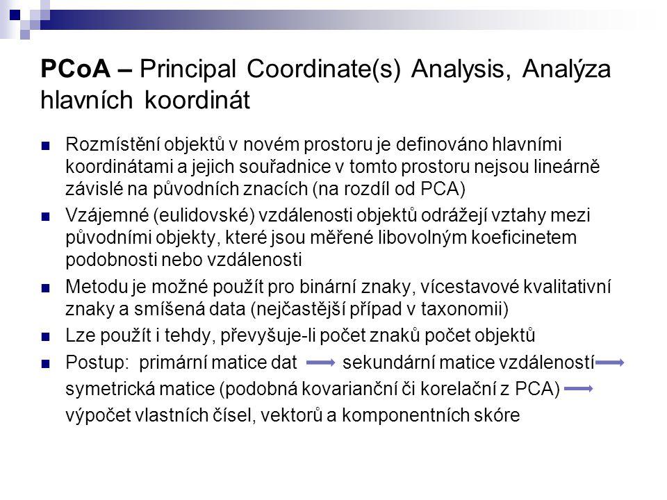 PCoA – Principal Coordinate(s) Analysis, Analýza hlavních koordinát
