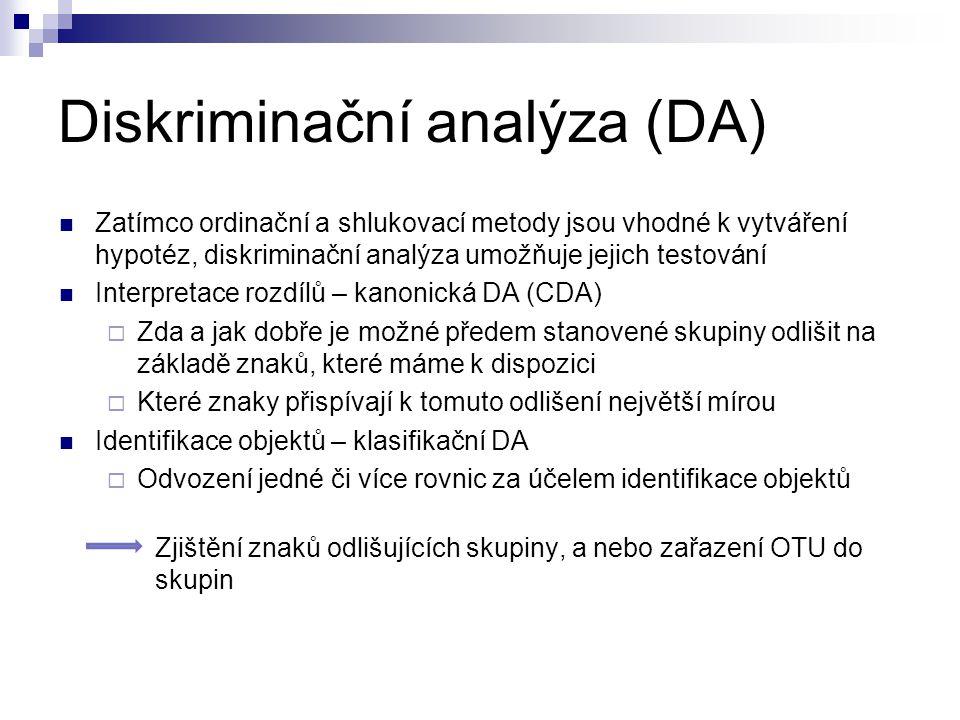 Diskriminační analýza (DA)