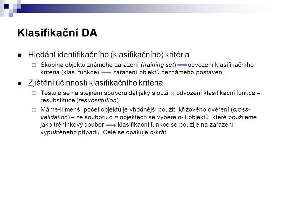 Klasifikační DA Hledání identifikačního (klasifikačního) kritéria