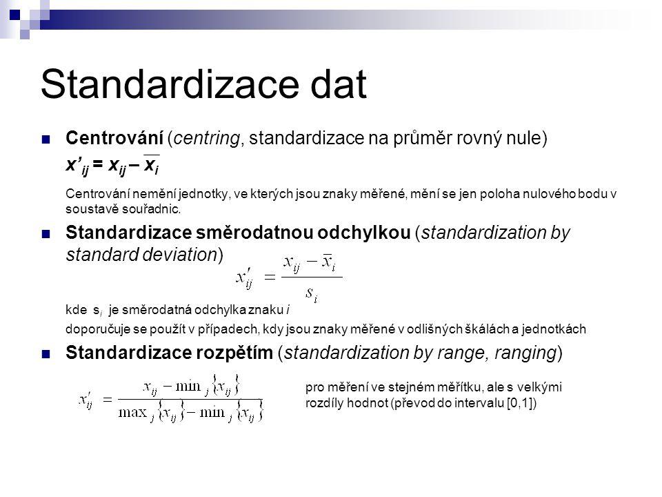 Standardizace dat Centrování (centring, standardizace na průměr rovný nule) x'ij = xij – xi.
