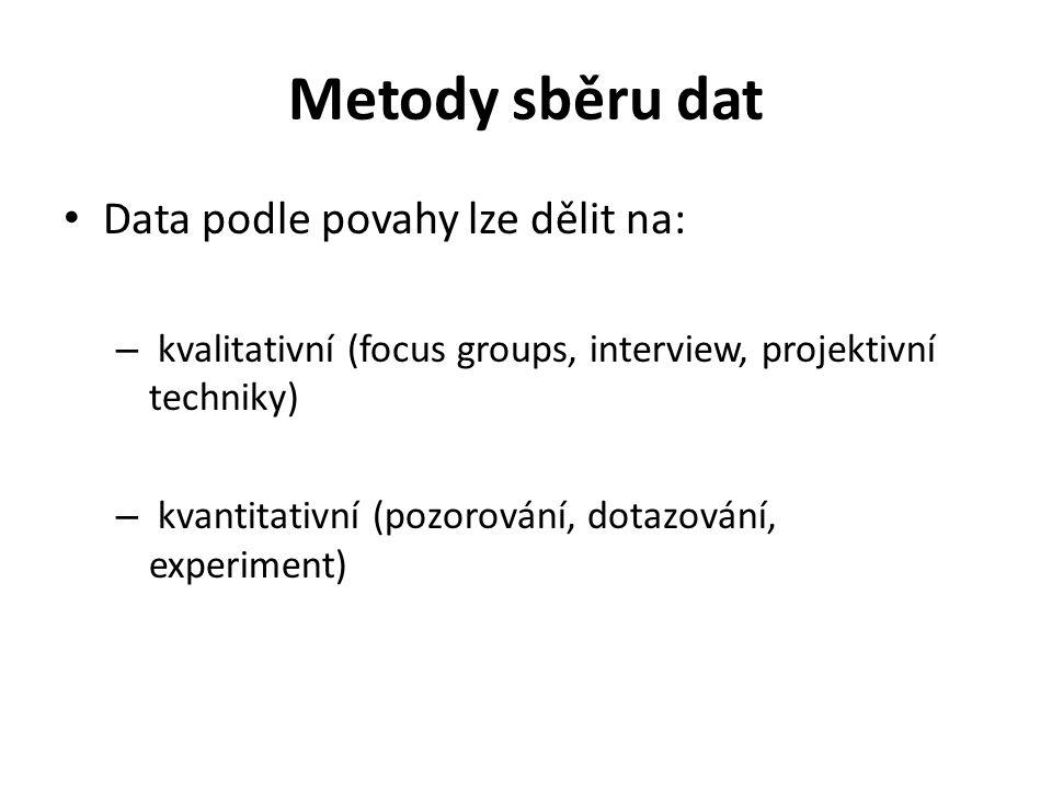 Metody sběru dat Data podle povahy lze dělit na: