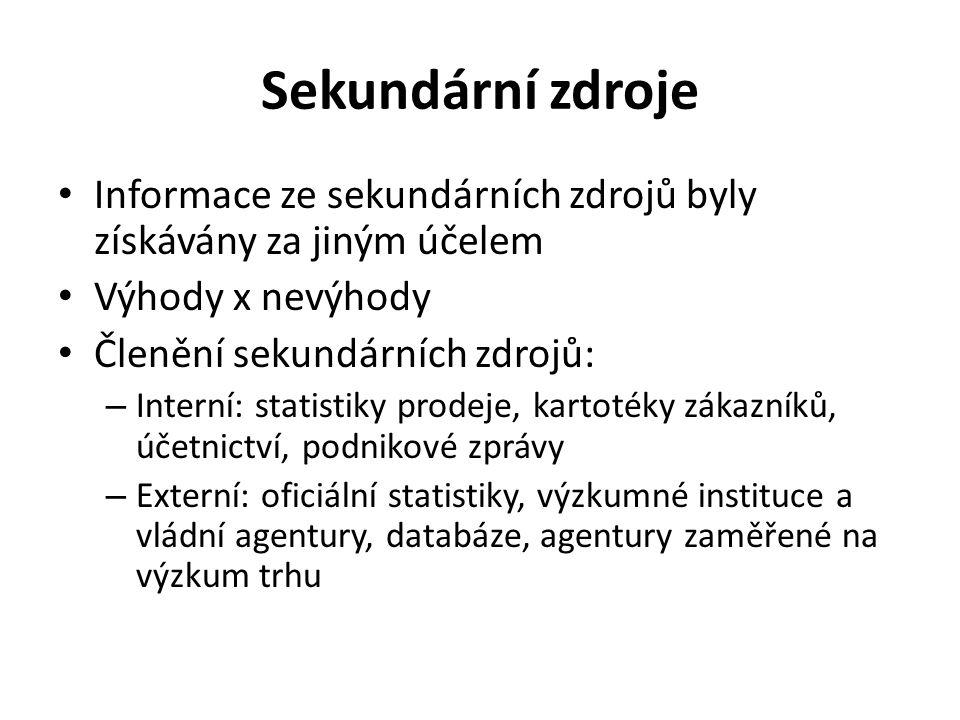 Sekundární zdroje Informace ze sekundárních zdrojů byly získávány za jiným účelem. Výhody x nevýhody.