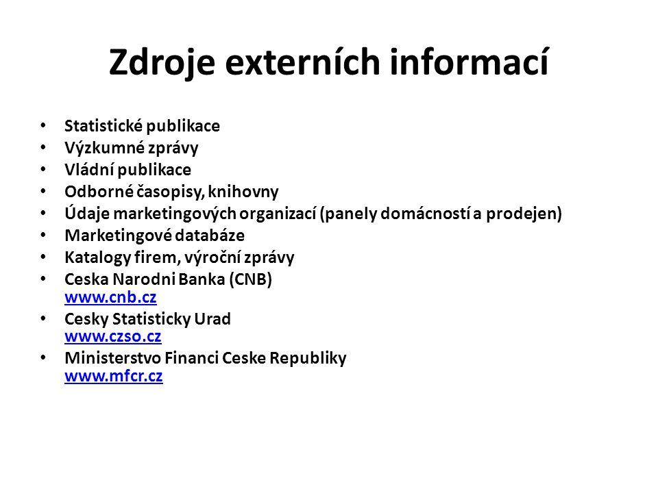 Zdroje externích informací
