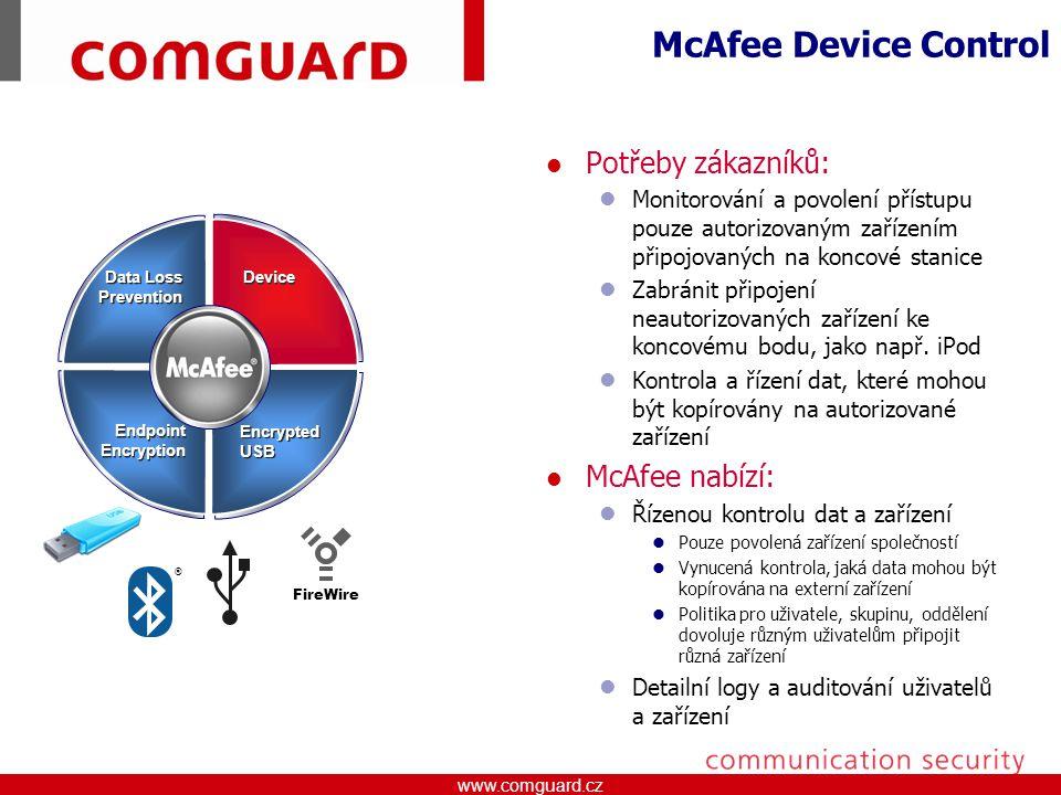 McAfee Device Control Potřeby zákazníků: McAfee nabízí: