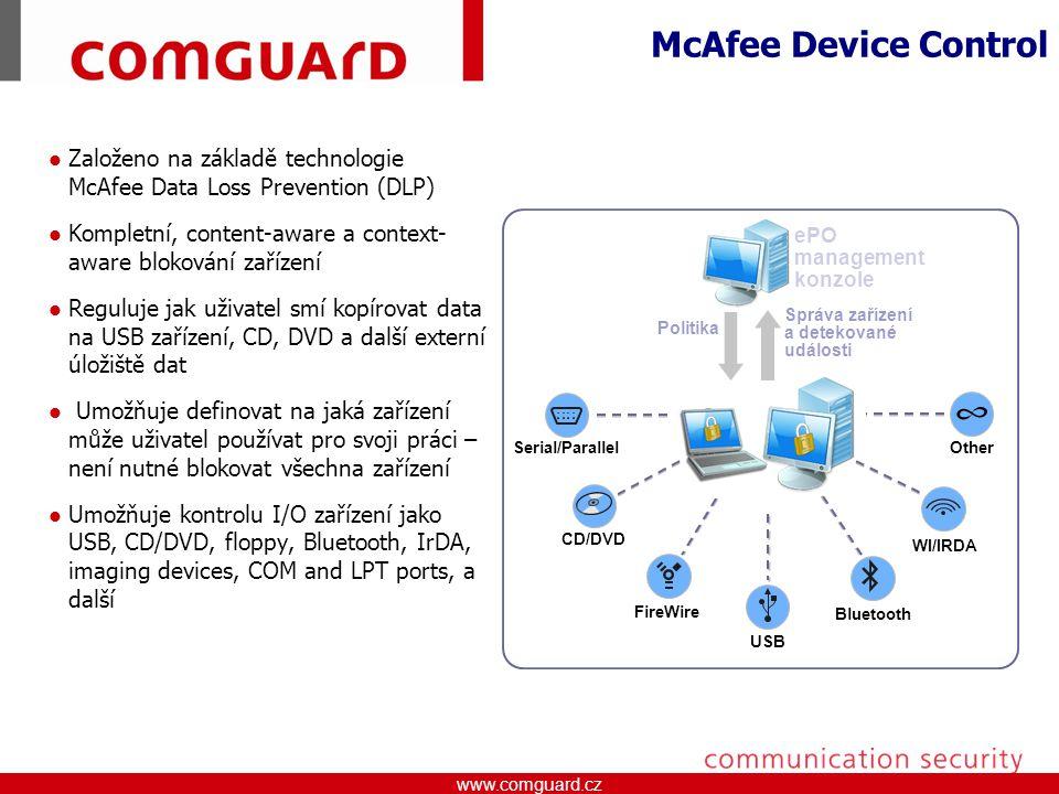 McAfee Device Control Založeno na základě technologie McAfee Data Loss Prevention (DLP) Kompletní, content-aware a context-aware blokování zařízení.