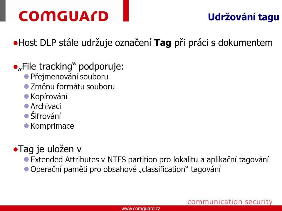 Host DLP stále udržuje označení Tag při práci s dokumentem
