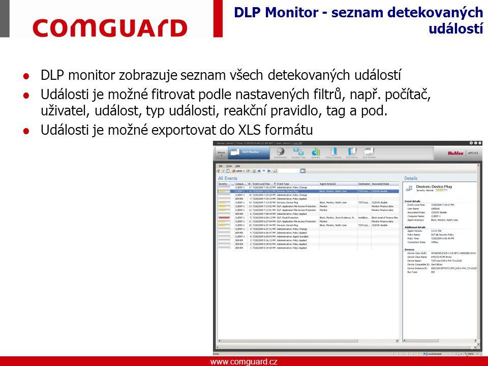 DLP Monitor - seznam detekovaných událostí