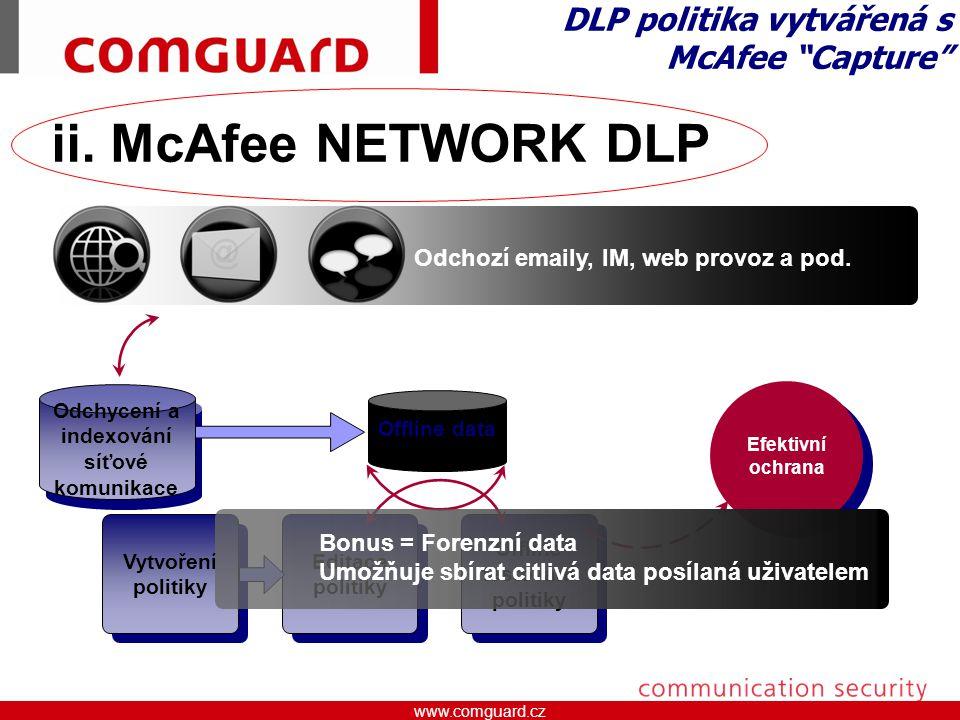 DLP politika vytvářená s McAfee Capture