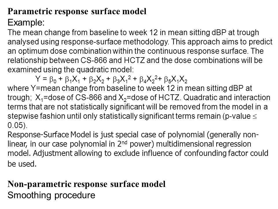 Parametric response surface model Example: