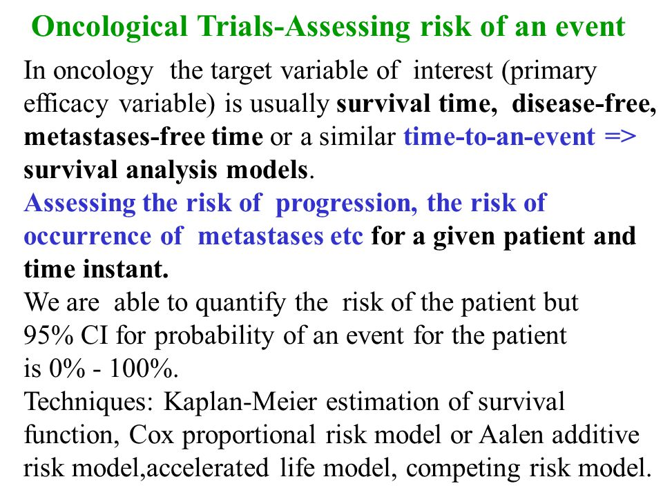 Oncological Trials-Assessing risk of an event