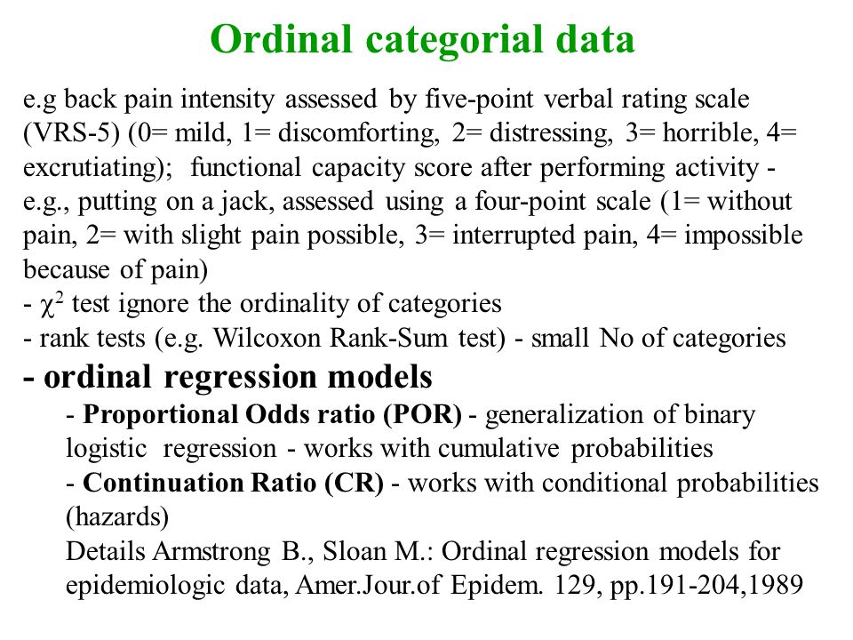 Ordinal categorial data