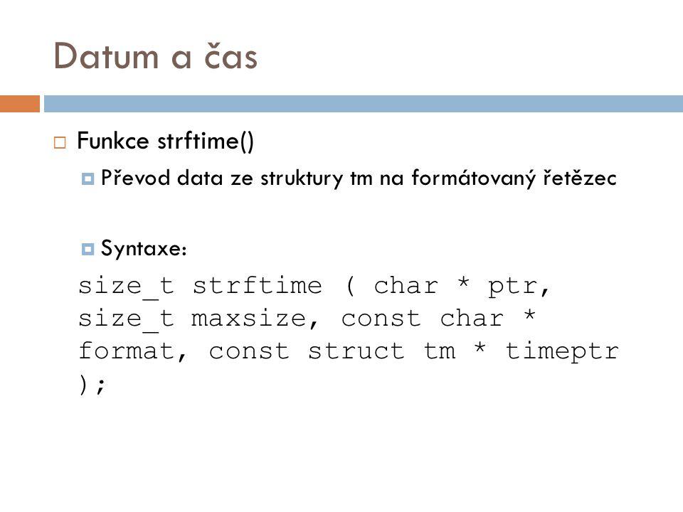 Datum a čas Funkce strftime()
