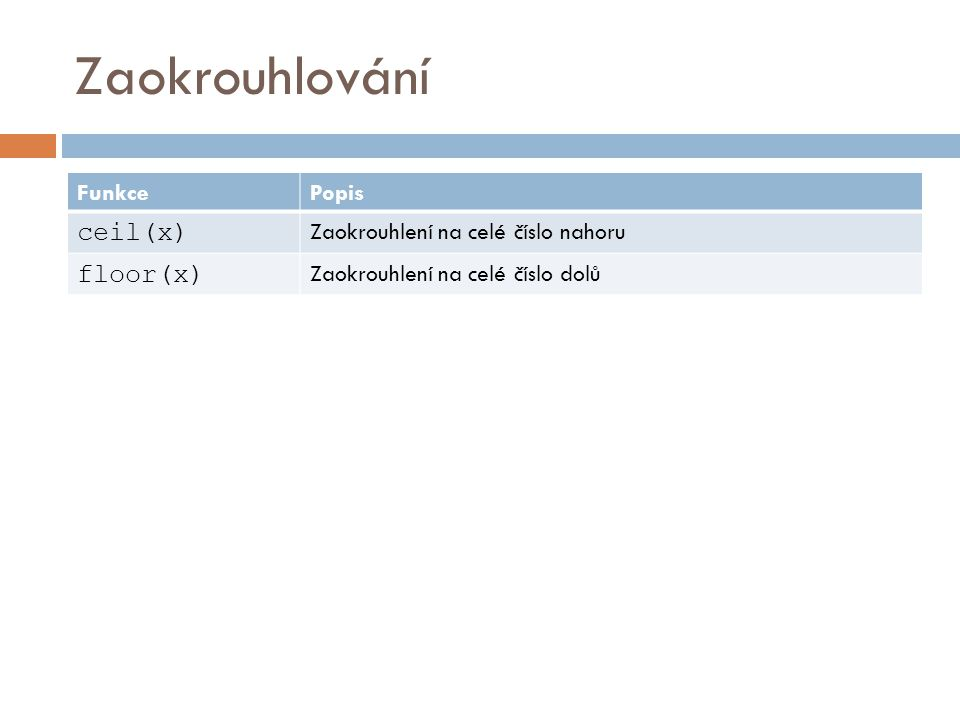 Zaokrouhlování ceil(x) floor(x) Funkce Popis
