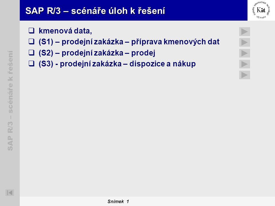 SAP R/3 – scénáře úloh k řešení