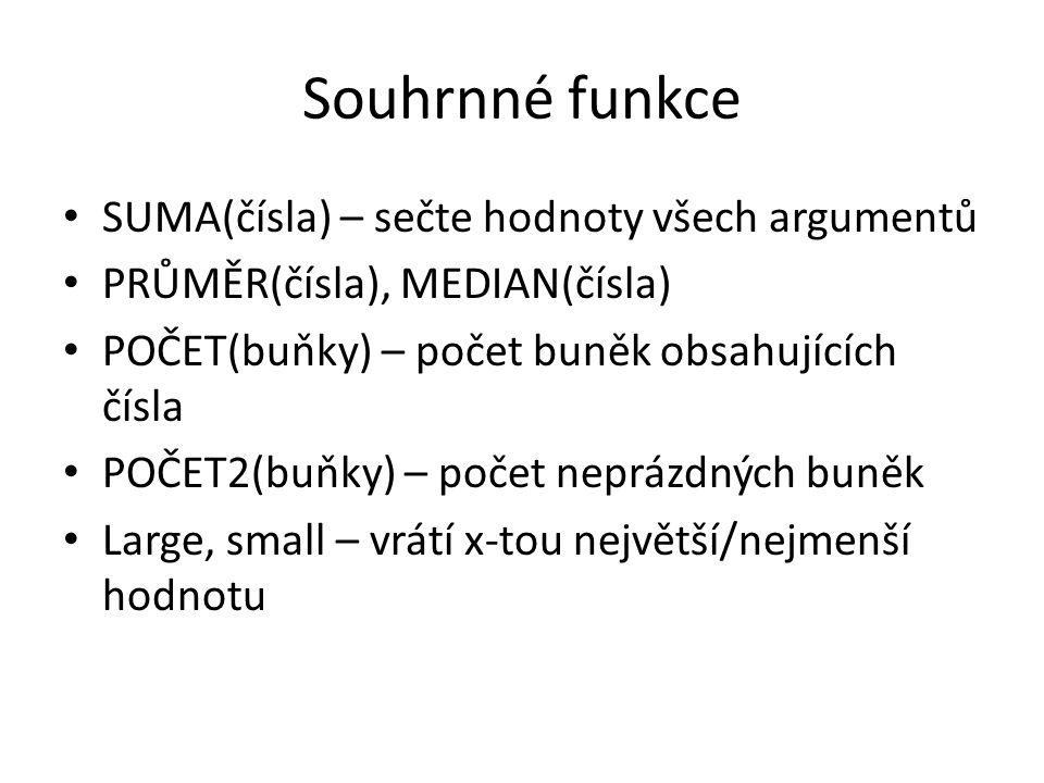 Souhrnné funkce SUMA(čísla) – sečte hodnoty všech argumentů