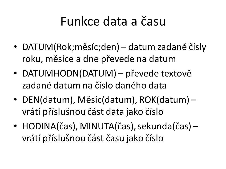 Funkce data a času DATUM(Rok;měsíc;den) – datum zadané čísly roku, měsíce a dne převede na datum.