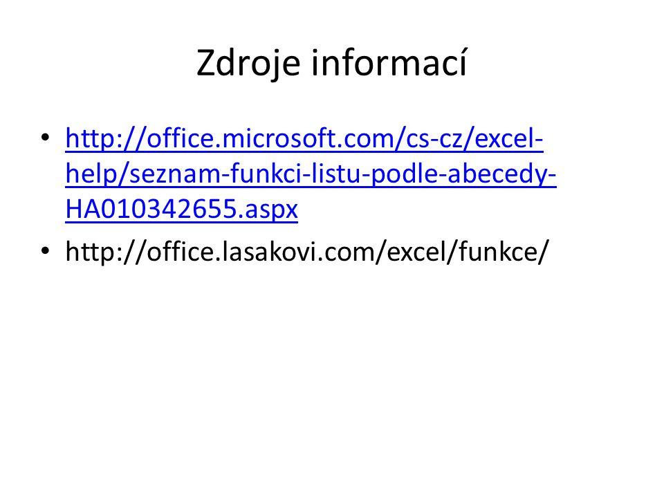 Zdroje informací http://office.microsoft.com/cs-cz/excel-help/seznam-funkci-listu-podle-abecedy-HA010342655.aspx.