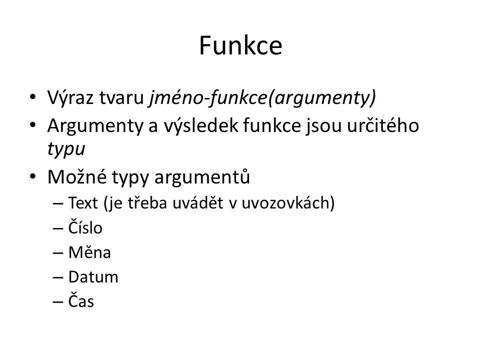 Funkce Výraz tvaru jméno-funkce(argumenty)