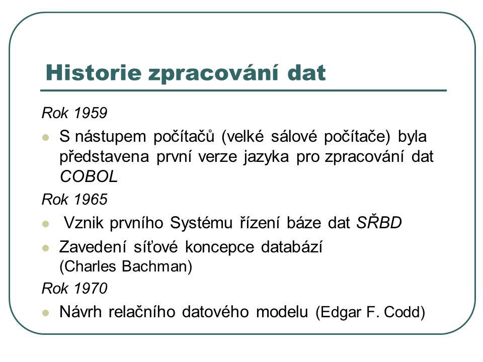 Historie zpracování dat