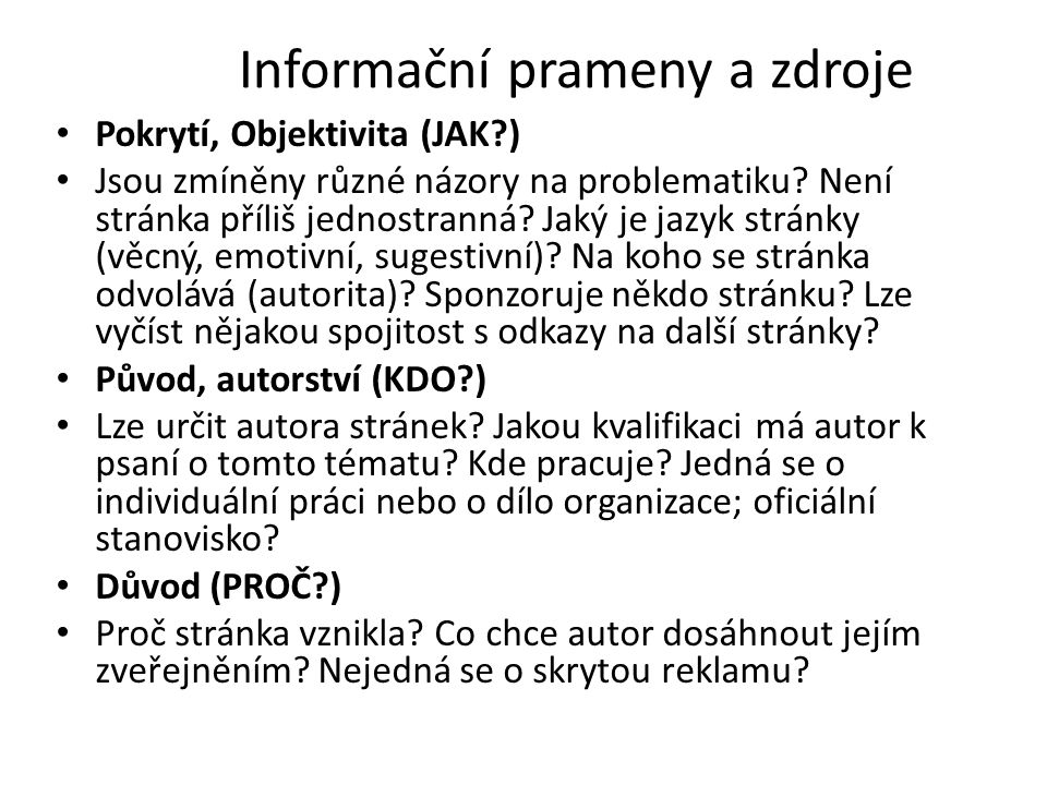 Informační prameny a zdroje