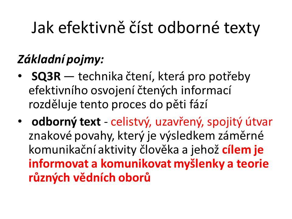 Jak efektivně číst odborné texty