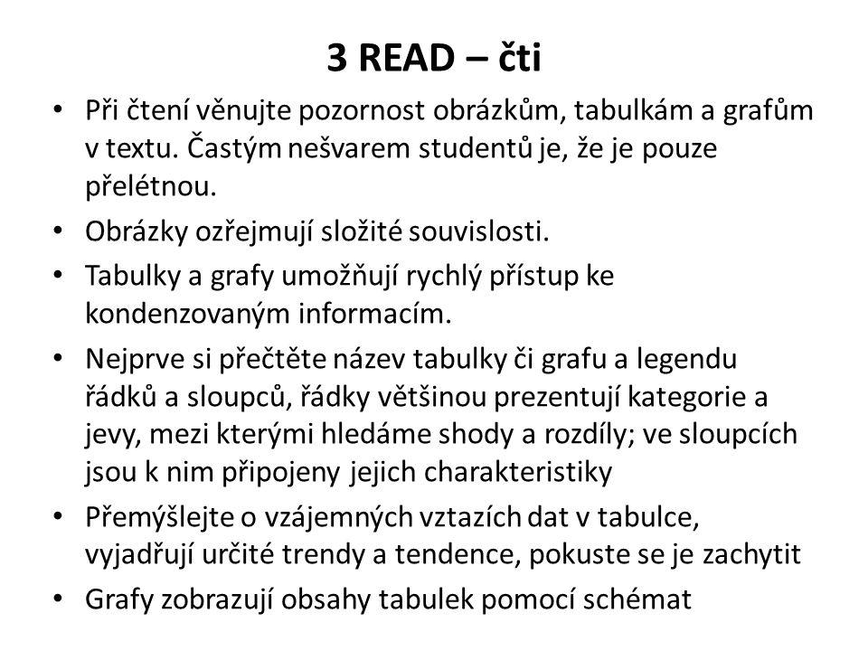 3 READ – čti Při čtení věnujte pozornost obrázkům, tabulkám a grafům v textu. Častým nešvarem studentů je, že je pouze přelétnou.