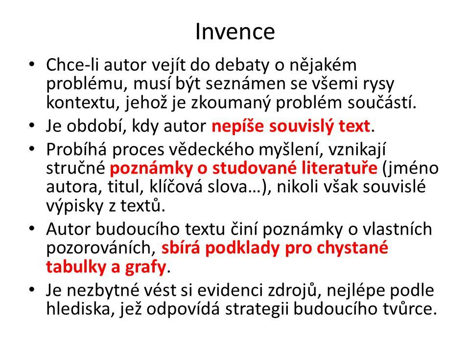 Invence Chce-li autor vejít do debaty o nějakém problému, musí být seznámen se všemi rysy kontextu, jehož je zkoumaný problém součástí.