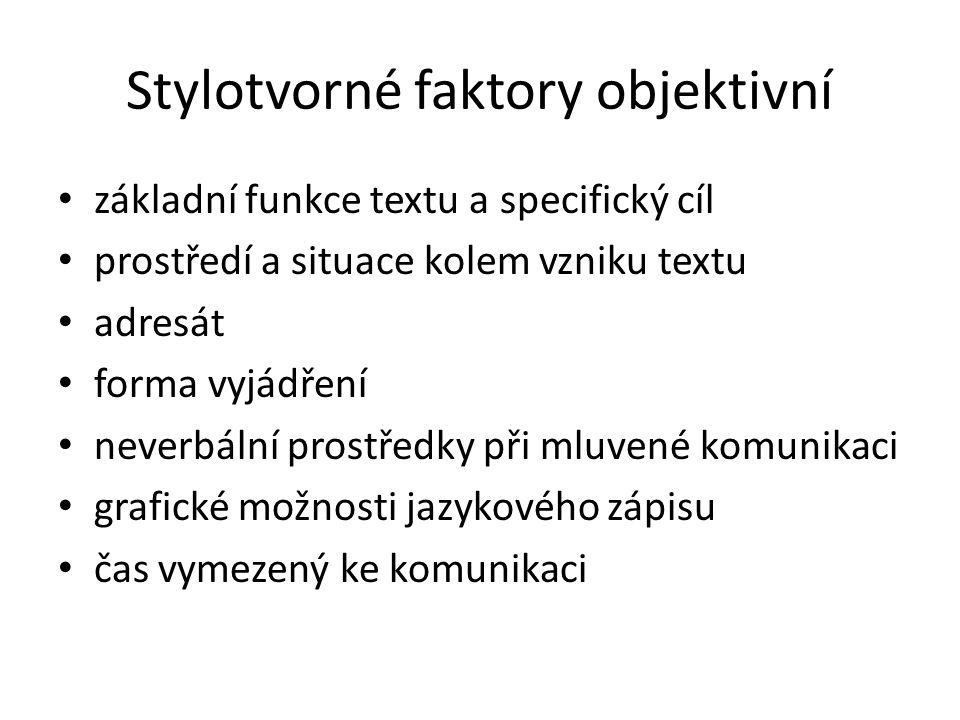 Stylotvorné faktory objektivní