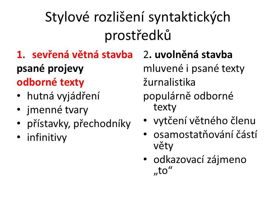 Stylové rozlišení syntaktických prostředků