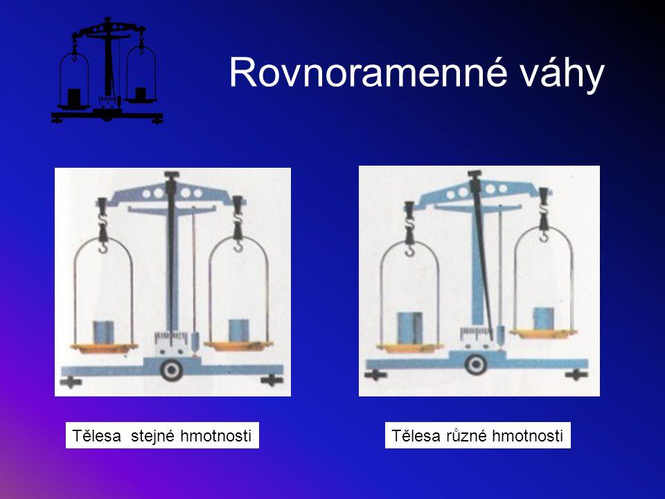 Rovnoramenné váhy Tělesa stejné hmotnosti Tělesa různé hmotnosti