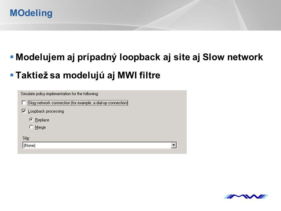 MOdeling Modelujem aj prípadný loopback aj site aj Slow network Taktiež sa modelujú aj MWI filtre