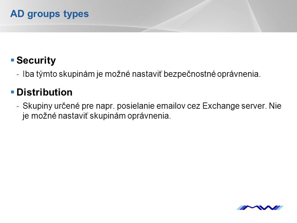 AD groups types Security Distribution