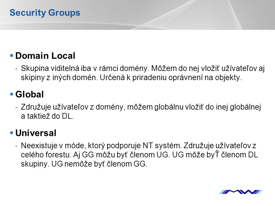Security Groups Domain Local Global Universal