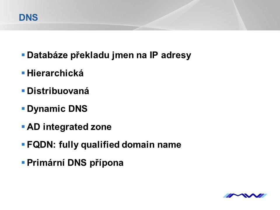 DNS Databáze překladu jmen na IP adresy. Hierarchická. Distribuovaná. Dynamic DNS. AD integrated zone.